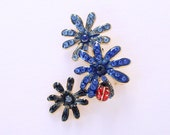 Ladybug Brooch Crystal Blue Flowers Red Lady Bug Broach Red Blue Brooches Nature Jewelry for Ladybugs Lover
