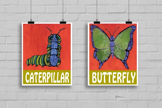 Caterpillar and Butterfly art print.Bug wall decor for kid's bedroom or baby nursery.Gift for bug baby shower.Decor for boys and girls room.
