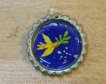 Yellow Dove Bottle Cap Pendant