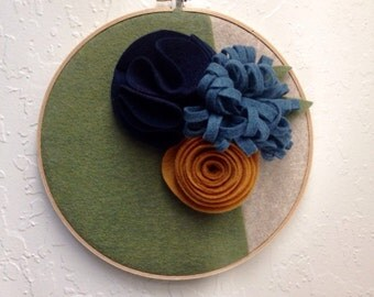 9in embroidery hoop felt flower wall hanging