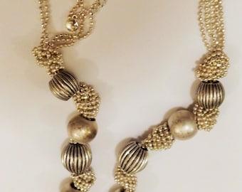 Vintage Liz Claiborne Silver Tone Baids Necklace