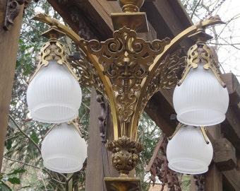 Victorian Brass Electric Chandelier with Gargoyles