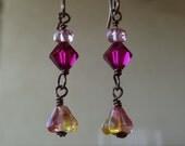Fuchsia Lemon Bell Flower Czech Glass & Ruby Swarovski Crystal Bronze Earrings