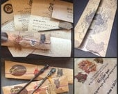 Complete Set Custom- Wizard Hogwarts Letter with Wand, House Letter, Map, and Parchment Envelope