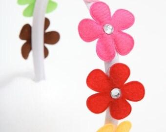 Handmade fabric baby headband, toddler hair band, girls hair band - rainbow flower.