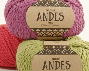 DROPS Garnstudio Andes yarn 100g 35% alpaca 65 wool super chunky bulky - LOWEST Price Drops Retailer