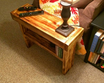 2 Fire Scorched Rustic Reclaimed Wood End Tables - (Set of 2)