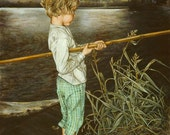 Vintage Fishing Greeting Card, Child with Bamboo Fishing Pole, Blank Note Card, Lake, Seven Summers