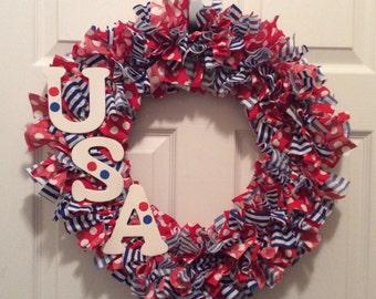 USA Stripes & Dots Wreath