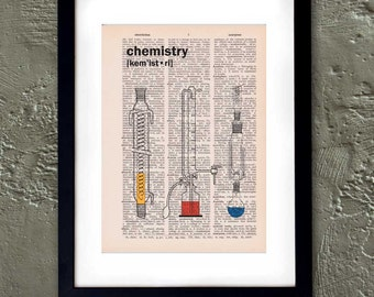 Dictionary Page Print: Vintage Chemistry Beakers Dictionary Art Print, Wall Art, Mixed Media, Recycled Dictionary Paper ZRP8011