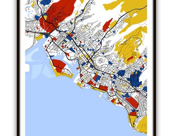 Honolulu Map Art / Honolulu, Hawaii Wall Art / Print / Poster / Modern Home Decor