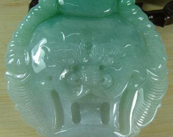 Handmade Certified Green Chinese Natural A Jade Jadeite Dragon Man Buckle Belt Free Shipping A-078-2