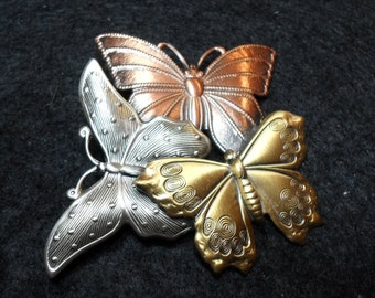 Tri Colored Metal Butterfly Brooch from sometime before 1995