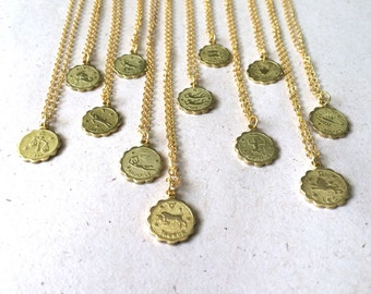 gold plated zodiac charm necklace