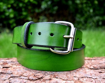 Cristopher Handmade Full Grain Green Leather Belt fitted with Nickel Plated Roller Buckle