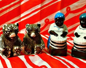 Set of Two Vintage Salt and Pepper Shakers: Black Americana and Bears