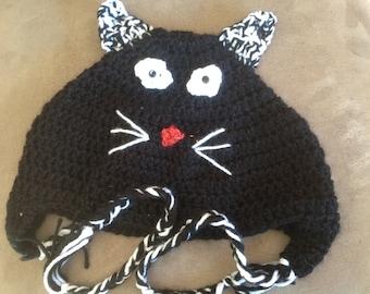 Cat (Black & White) Crochet Hat