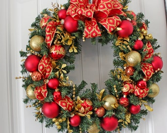 "24"" Red and Gold Wreath"