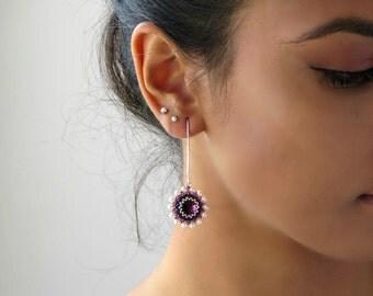 Purple earrings, Flower dangle earring, Purple dangle earrings, Long silver earrings, Purple crystal earrings, Elegant earrings