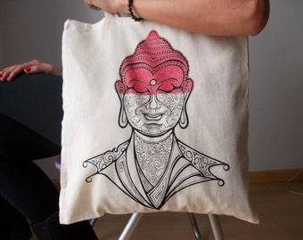 Buddha tote bag, Canvas tote bag, Yoga bag, Buddha Buddha yoga bag, Screen printing tote bag, Yoga accesories, Tote bag, Shopping bag
