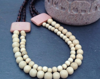 Brown, Cream & Pale Pink Wood Bead Double Strand Necklace