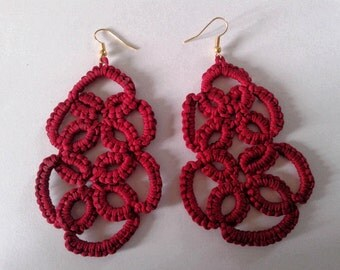 Textile jewelry-earrings red cotton