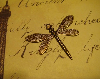 Antique brass dragonfly pendant