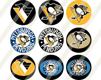 Pittsburgh Penguins digital collage sheet 4x6 1 inch round for bottle cap   INSTANT DOWNLOAD