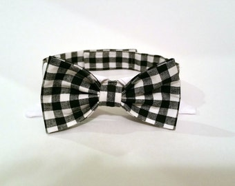 Dog Bow Tie Collar - Black Checkers