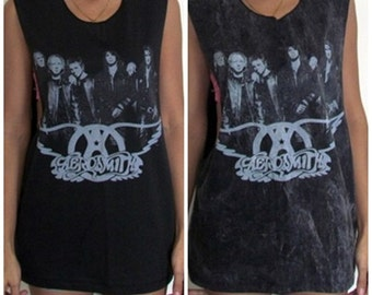 Ladies Low Cut Side Aerosmith Vest Tank-Top Singlet T-Shirt Dress Women's Men's Retro Free Size