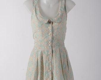 Woven ikat dress - Peter -pan collar; Button down detail