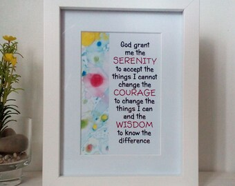Serenity Prayer, Marble Typography Art Print Quote, Unframed