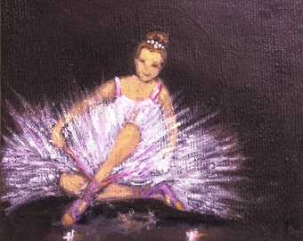 """BALLET DANCER original oil painting mini art from my """" sweets"""" collection gorgeous one of a kind piece of art.NOW*****Free** Shipping*******"""