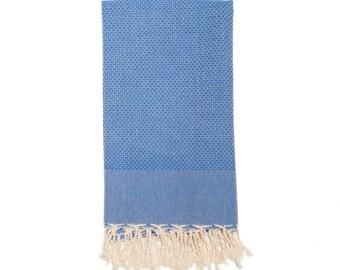Large waffled Fouta towel royal blu Tunisian spa linen