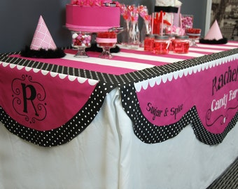 Table Cloth Topper - Scallop Edge - Custom Printed Personalized - Free Shipping