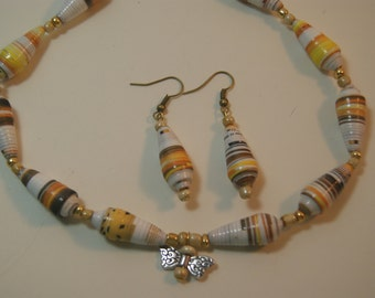 Paper Bead Butterfly Necklace & matching Earrings