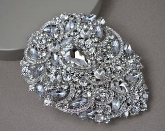"""Rhinestone Brooch - 5"""" Bridal Jewelry Bouquet Wedding Bridal Rhinestone Crystal Brooch Pin. CR402"""