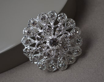 Bridal Brooch -  Silver Brooch Bouquet Supplies Wedding Accessories Crystal Brooch.  S110.