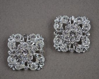 2pcs Square Crystal Brooch. Wedding Brooch. Brooch Bouquet Supply. Bridesmaid Jewelry. 2S101.