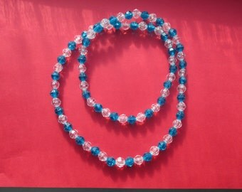 Blue and white round plastic beaded necklace