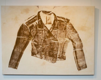 Monoprint of leather jacket uniform on stretched cotton