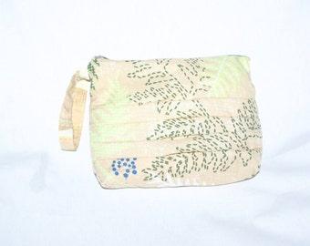 Beige Leaves Wristlet Bag