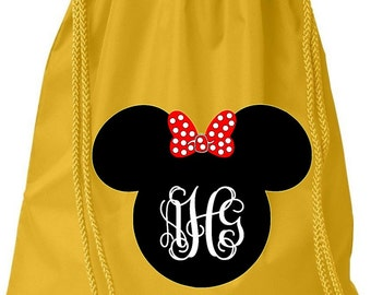 Disney Cinch Bag Personalized Monogram with Mouse Ears