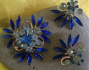Vintage Blue Rhinestone Brooch and Earring Set