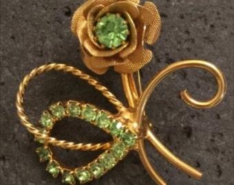 Vintage GoldTone Flower Pin with Green Rhinestones