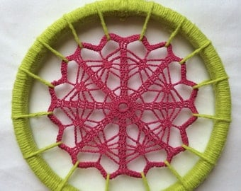 Daydreamer - Doily Wall Art in Hot Pink & Citron