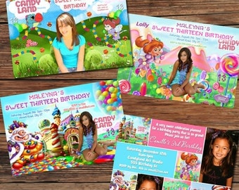 Candyland Candy Land Sweet Shoppe Birthday Party Invitations or Thank You Cards - 4 designs to choose
