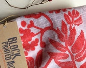 Block printed cotton kitchen towel, Red Rowan Berries 33x20 inches