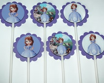 12 Sofia the First Cupcake Toppers, 12 count Princess Cake Toppers, Disney Princess Sofia