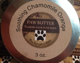 Dog paw butter, soothing chamomile & orange.